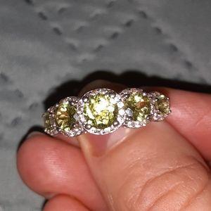 Genuine Peridot White Zircon Sterling Silver Ring